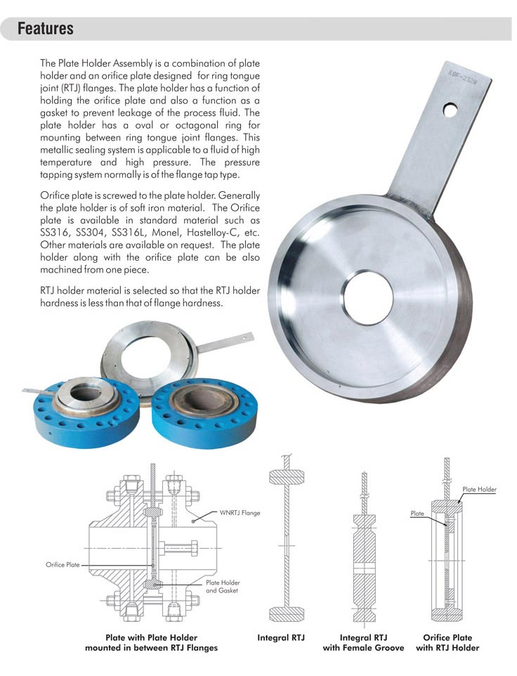 Orifice plate assemblies with rtj holder